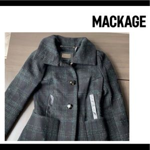 Mackage chanel Plaid wool Coat With leather Xs